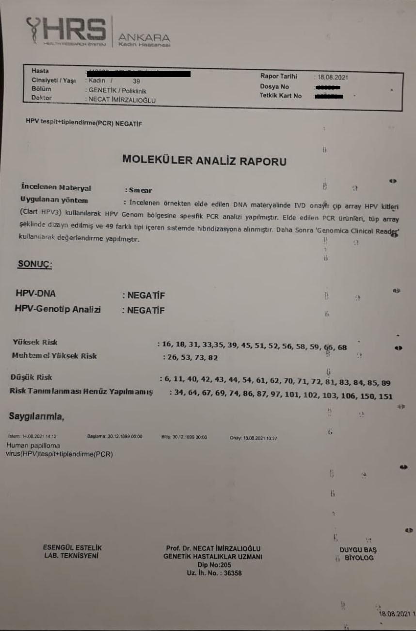 NEGATİF HPV Test Sonuç